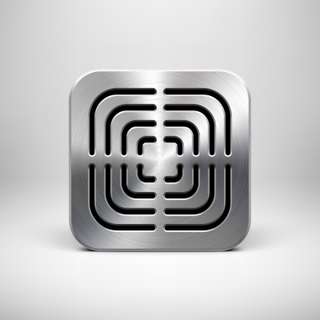 Technology app icon (button) template with perforated speaker grill metal texture (steel, silver, chrome), realistic shadow and light background  Illustration