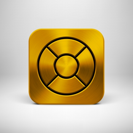Technology app icon (button) template with gold metal texture (steel, silver, chrome), realistic shadow and light background  Vector