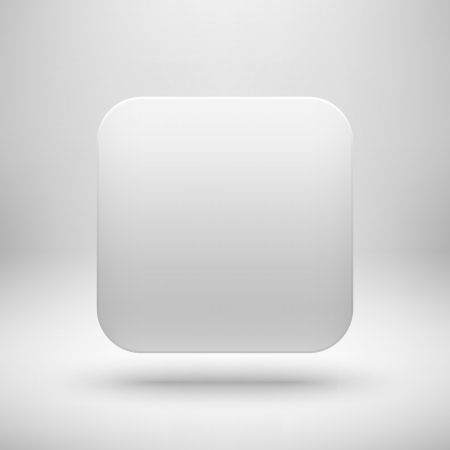 Technology white blank app icon (button) template with realistic shadow and light background for internet sites, web user interfaces (UI), applications (app) and business presentations. Vector design. Vector