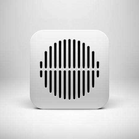 Ikona Bílá technika aplikace (tlačítko), šablona s kruhem perforovaným vzorem, realistické stíny a světelné pozadí uživatelských rozhraní (UI), aplikace (APPS) a prezentace. Vektorové ilustrace.