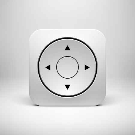 Technology white joystick app icon (button) template with realistic shadow and light background for user interfaces (UI), applications (apps) and business presentations. Vector illustration.