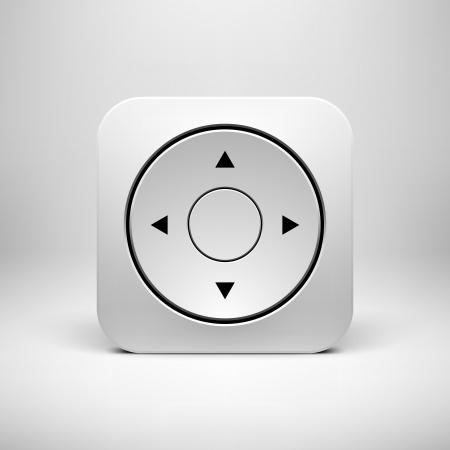 Tecnolog�a blanco Joystick aplicaci�n icono (bot�n) plantilla con la sombra realista y la luz de fondo de interfaces de usuario (UI), aplicaciones (apps) y presentaciones de negocios. Ilustraci�n del vector.