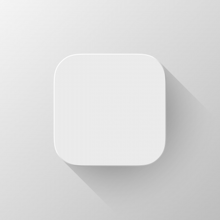 White technology app icon (button) blank template with shadow and light background for internet sites, web user interfaces (ui) and applications (apps). Vector illustration. Flat design. Ilustrace