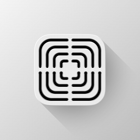 White technology app icon (button) template with circle perforated speaker grill pattern (texture ), realistic shadow and light background user interfaces (UI), applications (apps) and presentations. Vector