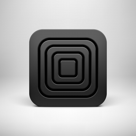 Black technology app icon (button) template with circle perforated pattern, realistic  shadow and light background user interfaces (UI), applications (apps) and presentations. Vector illustration. Vector