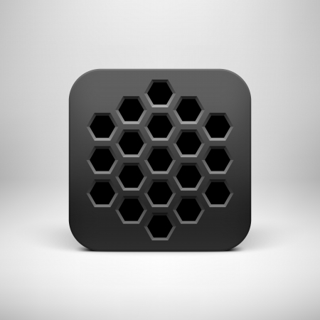 Black technology app icon (button) template with polygon perforated pattern, realistic  shadow and light background user interfaces (UI), applications (apps) and presentations. Vector illustration. Vector