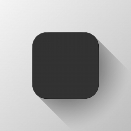 Black technology app icon (button) blank template with shadow and light background for internet sites, web user interfaces (ui) and applications (apps). Vector illustration. Flat design.