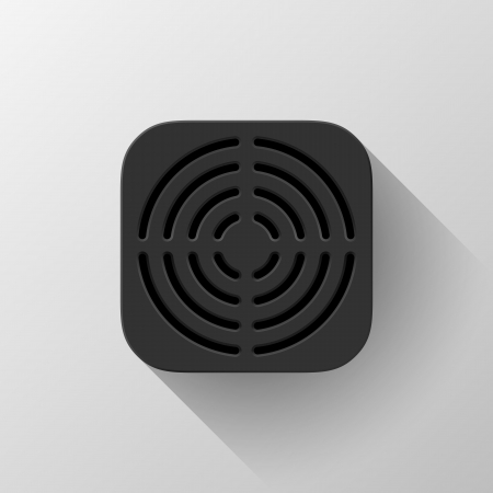 Black technology app icon (button) template with circle perforated speaker grill pattern (texture ), realistic shadow and light background user interfaces (UI), applications (apps) and presentations. Vector
