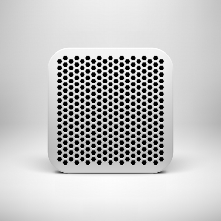 White technology app icon template with polygon perforated pattern Vector