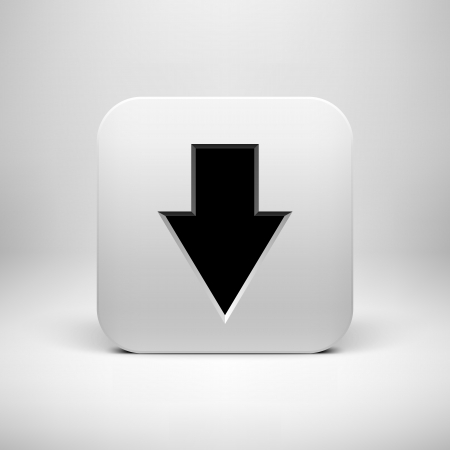 Technology white app icon (button) template with download arrow sign Vector