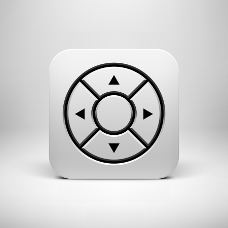 White abstract technology app icon, joystick button template with arrows, realistic shadow and light background for user interfaces (UI), applications (apps) and presentations. Vector illustration. Vector