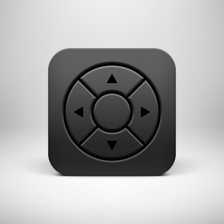Black abstract technology app icon, joystick button template with arrows, realistic shadow and light background for user interfaces (UI), applications (apps) and presentations. Vector illustration.