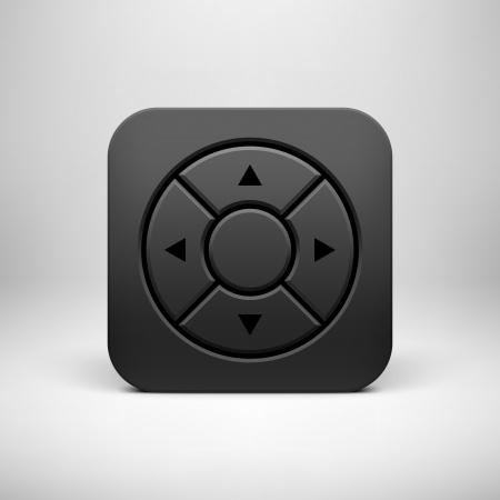 ios: Noir technologie abstraite app ic�ne, joystick mod�le de bouton avec les fl�ches, ombre r�aliste et fond clair pour les interfaces utilisateur (UI), les applications (apps) et des pr�sentations. Vector illustration.