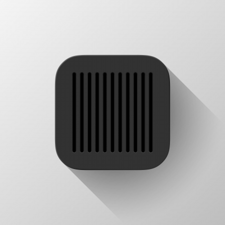 Black abstract technology app icon, button template with circle perforated speaker grill pattern, flat designed shadow and light background user interfaces (UI), applications (apps) and presentations. Vector
