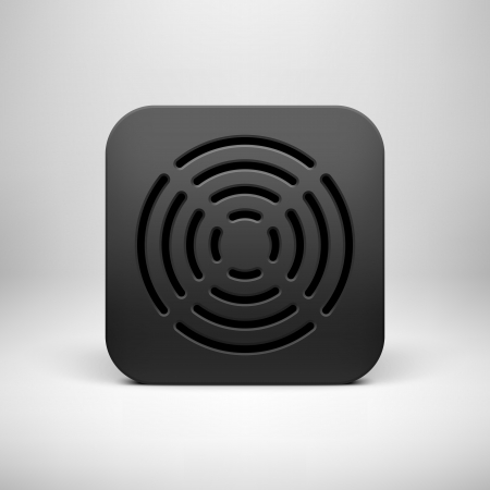Black abstract technology app icon, button template with circle perforated speaker grill pattern, realistic shadow and light background user interfaces (UI), applications (apps) and presentations. Stock Vector - 24054569