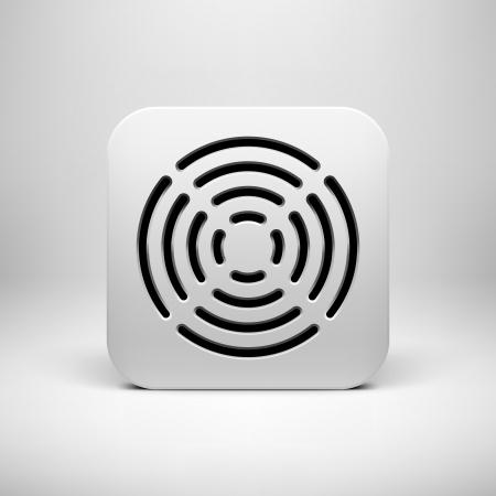 Bílá abstraktní technologie ikona aplikace, tlačítko šablonu s kruhovým perforovaná grilovací reproduktor vzoru, realistický stín a světlo na pozadí uživatelského rozhraní (UI), aplikace (apps) a prezentace.