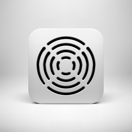 White abstract technology app icon, button template with circle perforated speaker grill pattern, realistic shadow and light background user interfaces (UI), applications (apps) and presentations. Vector