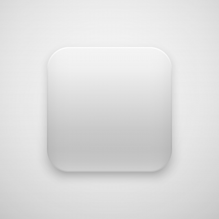 White abstract app icon, blank button template with realistic shadow and light background for internet sites, web user interfaces (UI) and applications (apps). Vector illustration. Vector