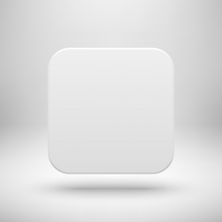 White abstract app icon, blank button template with realistic shadow and light background for web sites, user interfaces (UI), applications (app) and business presentations. Vector illustration.