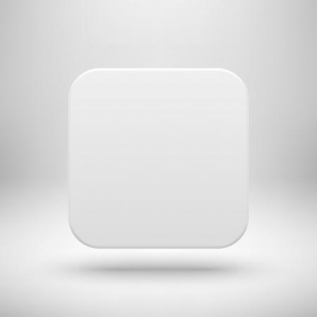 White abstraktní ikona aplikace, prázdný tlačítko šablony s realistickým stínem a světlém pozadí pro webové stránky, uživatelské rozhraní (UI), aplikace (APP) a firemní prezentace. Vektorové ilustrace. Reklamní fotografie - 24591557
