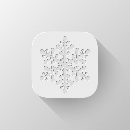White abstract app icon, button template with snowflake sign, flat designed shadow and gradient background for internet sites, web user interfaces (UI) and applications (apps). Vector illustration. Vector