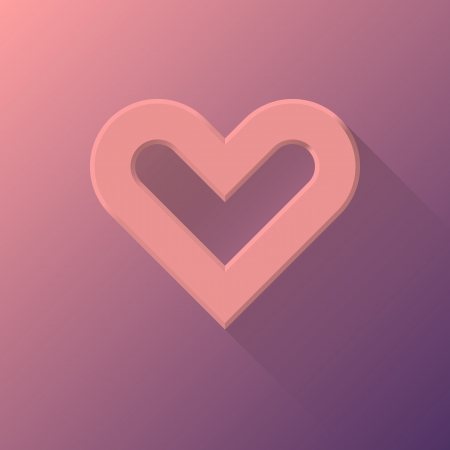sign blank: Pink abstract Valentines heart sign, blank button template with flat designed shadow and light for internet sites, web user interfaces (ui) and applications (apps). illustration.