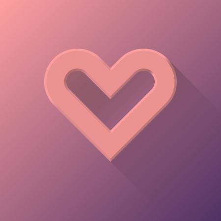 Signo abstracto coraz�n de San Valent�n Rosa, plantilla de botones en blanco con la sombra y la luz plana dise�ada para sitios de Internet, interfaces de usuario web (UI) y las aplicaciones (apps). la ilustraci�n.