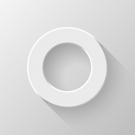 tore: White abstract circle volume knob, blank button template with flat designed shadow and light
