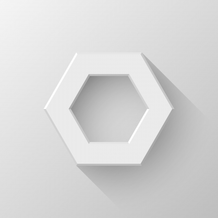 White abstract polygon (hex) sign, blank button template with flat designed shadow and light Vector
