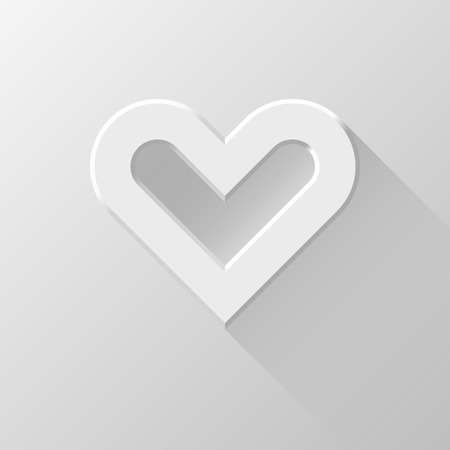 sign blank: White abstract Valentines heart sign, blank button template with flat designed shadow and light