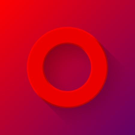 Red bot�n de volumen abstracto de la tecnolog�a, plantilla bot�n redondo blanco con la sombra dise�ada plano y fondo degradado para sitios web, interfaces de usuario (UI) y las aplicaciones (apps). Ilustraci�n del vector.