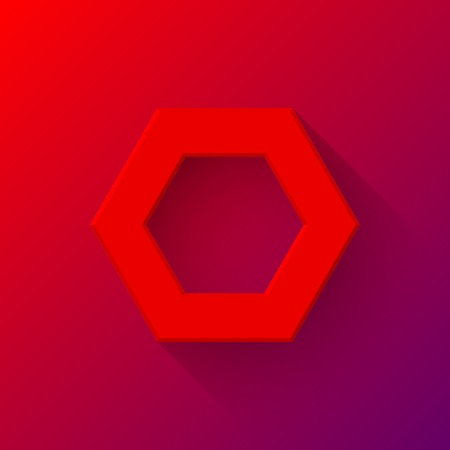 sign blank: Red abstract polygon (hex) sign, blank button template with flat designed shadow and light background for internet sites, web user interfaces (ui) and applications (apps). Vector illustration.