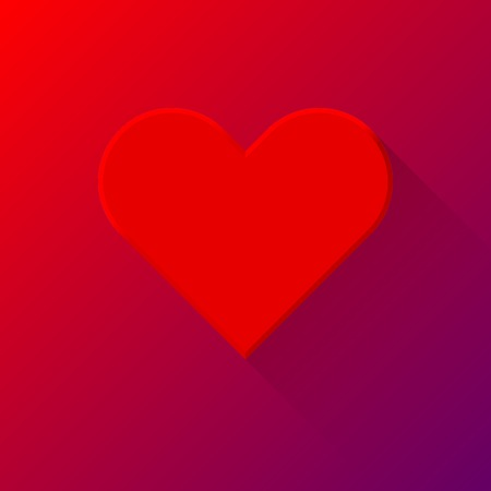 Red abstract Valentines heart sign, blank button template with flat designed shadow and light background for internet sites, web user interfaces (ui) and applications (apps). Vector illustration. Vector