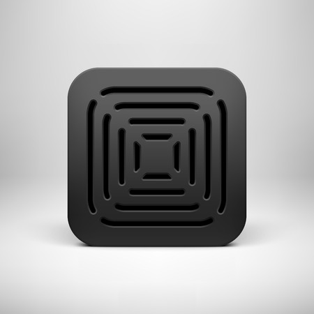 Black abstract technology app icon, button template with perforated speaker grill pattern, realistic shadow and light background user interfaces (UI), applications (apps) and presentations. Vector