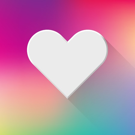sign blank: White abstract Valentines heart sign, blank button template with flat designed shadow and gradient colored background for web sites, user interfaces (ui) and applications (apps). Vector illustration. Illustration