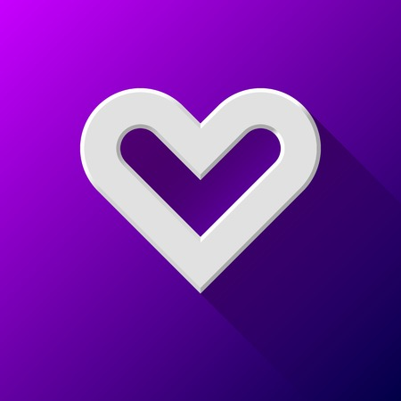 White abstract Valentines heart sign, blank button template with flat designed shadow and purple background for internet sites, web user interfaces (ui) and applications (apps). Vector illustration. Vector