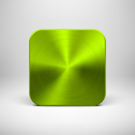 Green (lime) abstract technology app icon, blank button template with metal texture (chrome, steel, silver), realistic shadow and light background for interfaces (UI) and applications (apps). Vector