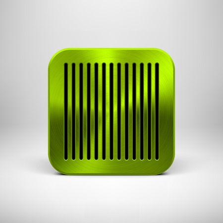 Green (lime) abstract technology app icon, button template with perforated speaker grill pattern, metal texture (chrome, steel, silver) and realistic shadow for interfaces (UI) and applications (apps) Vector