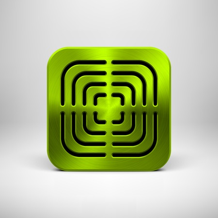 Green (lime) abstract technology app icon, button template with perforated speaker grill pattern, metal texture (chrome, steel, silver) and realistic shadow for interfaces (UI) and applications (apps). Vector