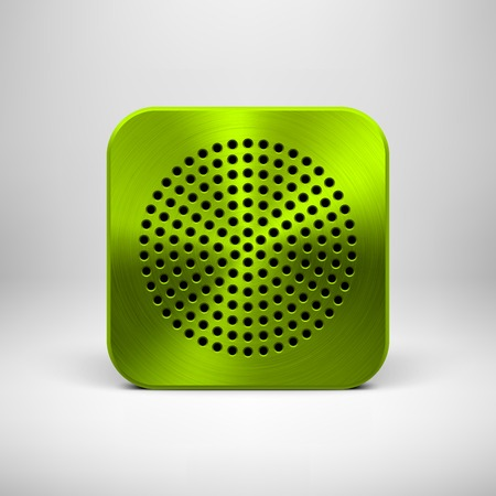Green abstract technology app icon, button template with circle perforated speaker grill pattern, metal texture (chrome, steel, silver) and realistic shadow for interfaces (UI) and applications (apps) Vector