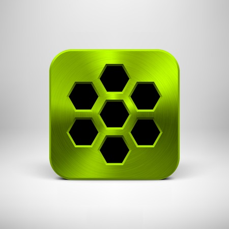 Green (lime) abstract technology app icon, button template with polygon perforated speaker grill pattern, metal texture (chrome, steel) and realistic shadow for interfaces (UI) and applications (apps) Vector