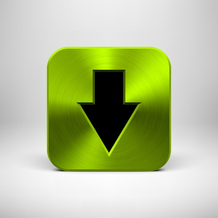 Green abstract technology app icon, button template with download arrow sign, metal texture (steel, chrome, silver) and realistic shadow for web sites, user interfaces (UI) and applications (apps). Vector