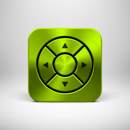 Green (lime) abstract technology app icon with arrows, metal texture (steel, chrome, silver), realistic shadow and light background for web sites, user interfaces (UI) and applications (apps). Vector