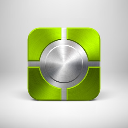 Green (lime) abstract technology app icon, button template with circle perforated pattern, metal texture (chrome, steel, silver) and realistic shadow for interfaces (UI) and applications (apps). Vector