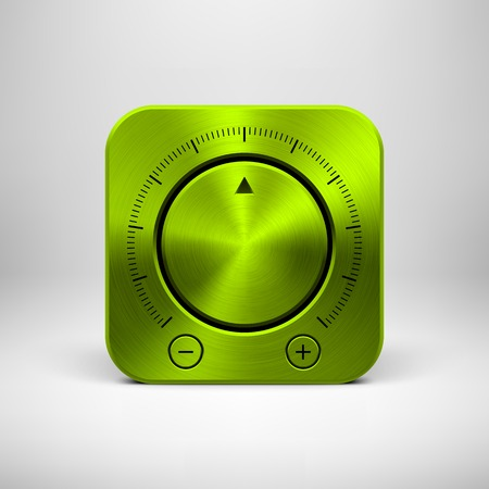 Green abstract technology app icon, button template with music button (volume, sound control knob), metal texture (chrome, steel) and realistic shadow for interfaces (UI) and applications (apps). Vector