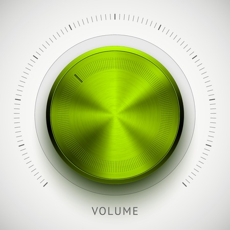 Green (lime) abstract technology music button (volume, sound control knob) with metal texture (chrome, steel, silver) and realistic shadow for interfaces (UI) and applications (apps). Vector