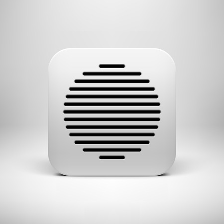 White abstract technology app icon, button template with circle perforated speaker grill pattern, realistic shadow and light background for user interfaces (UI), applications (apps) and presentations. Vector