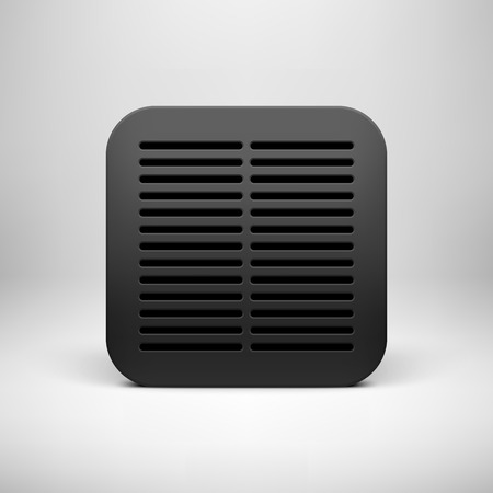 Black abstract technology app icon, button template with square perforated speaker grill pattern, realistic shadow and light background for user interfaces (UI), applications (apps) and presentations. Vector