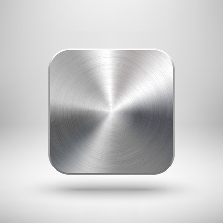 steel: Abstract technology app icon, blank button template with metal texture