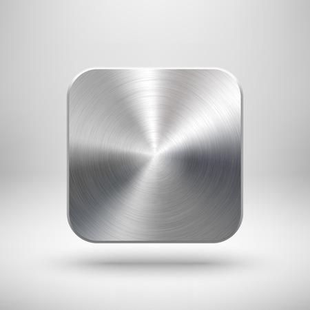 cromo: Resumen icono de la aplicación de tecnología, plantilla de botones en blanco con textura de metal Vectores